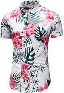 Camisa Floral Masculina - Branco G