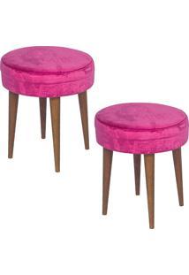 Kit 2 Puffs Banqueta Alta Suede Pés Palito 499 Lyam Decor Pink