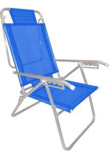 Cadeira Praia Reclinável Zaka Infinita Up Alumínio Até 120 Kg Azul