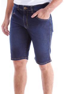 Bermuda Jeans Slim 5 Bolsos Stonada Blue Black Traymon 685 - Kanui