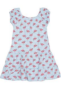 Vestido Ciganinha Flamingos- Azul Claro & Salmão- Kitip Top