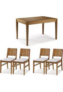 Conjunto Mesa Jantar Tampo Madeira + 4 Cadeiras Salvador Assento Estofado - 60474 - Sun House