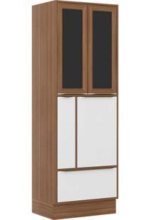 Paneleiros 4 Portas 1 Gaveta C Vidro E Rodapé 5406R Nogueira/Branco - Multimóveis