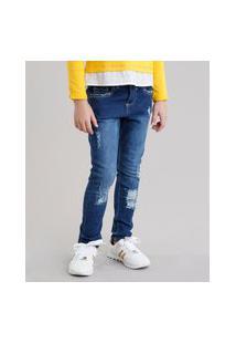Calça Jeans Infantil Destroyed Azul Escuro