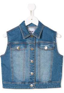 Moschino Kids Colete Jeans Slim - Azul