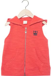 Colete Coloritta Capuz Infantil Vermelho