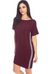 Vestido Moda Vicio Camiseta Com Faixa - Feminino-Vinho
