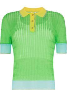I-Am-Chen Camisa Polo Color Block Com Semi Transparência - Preto