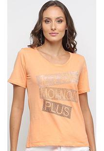Camiseta Disparate Estampa Metalizada Feminina - Feminino-Laranja