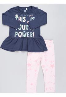 Conjunto Infantil De Blusa Manga Longa Azul Marinho + Calça Legging Estampada De Estrelas Rosa Claro