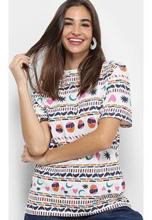 Camiseta Cantão Estampa Étnica Feminina - Feminino-Branco