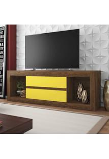 Rack Para Tv Até 55 Polegadas 2 Gavetas Dublin Siena Móveis Teka/Amarelo