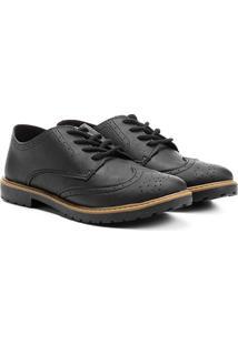 Sapato Klin Oxford Brogue Infantil - Masculino-Preto