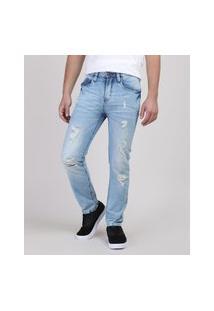 Calça Jeans Juvenil Slim Com Rasgos Azul Claro