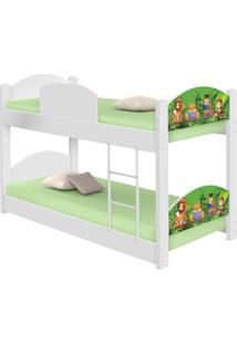 Beliche Infantil Safari Com 2 Colchãµes Casah - Branco/Verde - Dafiti