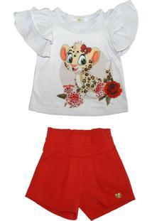 Conjunto Gira Baby Kids Camiseta Babados E Shorts
