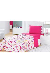 Edredom Solteiro Estampado Kids 1 Peça Pirulitos Dourados Enxovais Pink