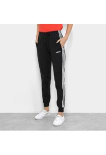 Calça Adidas 3S Pant Feminina - Feminino-Preto+Branco