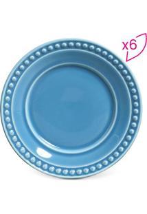 Jogo De Pratos Para Sobremesa Atenas- Azul- 6Pçsporto Brasil