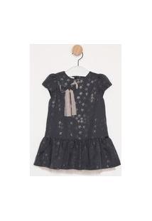 Vestido Infantil Kids Place Alfaiataria Azul Marinho Estampa Estrelas Com Tule Rosa