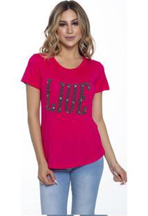 T-Shirt Cavallari Live Bordada A Mão Pink