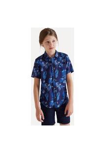 Camisa Mini Sm Fullprint Felicity Casual Reserva Mini Azul Marinho