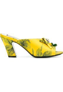 Nº21 Sapato Mule Com Estampa Floral - Amarelo