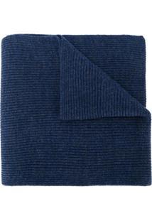 Polo Ralph Lauren Cachecol Canelado Com Logo - Azul