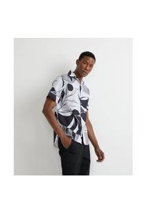 Camisa Manga Curta Em Voal Estampa Folhagem