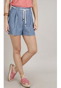 Short Jeans Feminino Com Pregas E Cordão Azul Médio