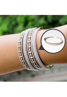 Bracelete Cravejado Com Zircônias Brancas Folheado A Ródio