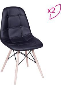 Jogo De Cadeiras Eames Botonê- Preto & Bege- 2Pçs