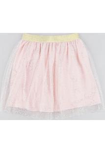 Saia Infantil Em Tule Estampado De Poá Metalizado Rosa Claro