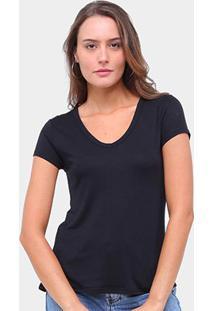 Camiseta Lecimar Gola V Manga Curta Feminina - Feminino-Preto