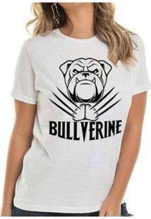 T-Shirt Bullverine Inglês Buddies Feminina - Feminino-Branco