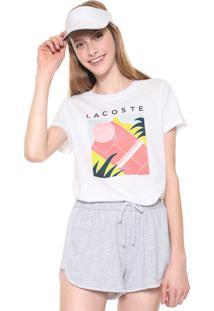 Camiseta Lacoste Estampada Branca