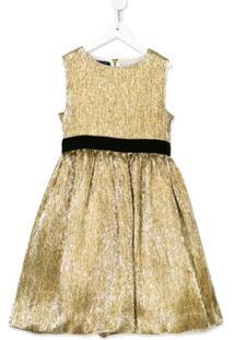 Oscar De La Renta Kids Vestido Metálico - Dourado