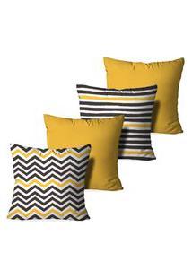 Kit 4 Capas Para Almofadas Decorativas Love Decor Abstrato Stripes Multicolorido