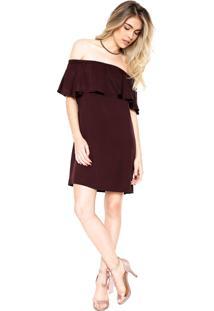 Vestido Colcci Curto Ombro-A-Ombro Vinho