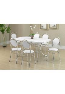 Conjunto Mesa 1507 Branca Cromada Com 6 Cadeiras 190 Branca Carraro
