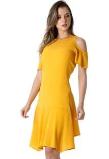 Vestido Richini Liso Assimetrico Amarelo