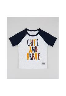 "Camiseta Infantil Cute"" Manga Curta Raglan Off White"""