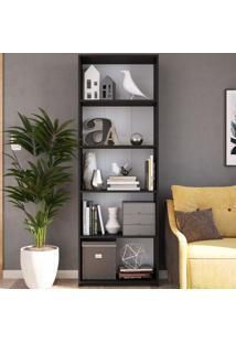 Estante Para Livros 5 Prateleiras Mo060 Preto - Art In Móveis