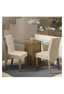 Conjunto Sala De Jantar Madesa Luli Mesa Tampo De Vidro Com 2 Cadeiras Rustic/Imperial Rustic