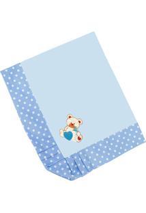 Manta Enxoval Piquet Padroeira Baby Urso Baby Azul