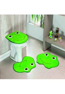 Jogo Banheiro Dourados Enxovais Formato Sapo Verde Bandeira