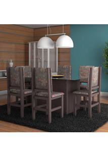 Conjunto De Mesa E Cadeira De Jantar Vidro 160X80 Cm Tabaco Floral Escuro Ii