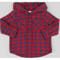 85464a1f4 Camisa Infantil Estampada Xadrez Com Capuz Manga Longa Vermelha