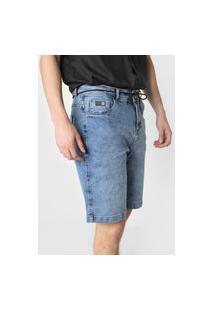 Bermuda Jeans Hang Loose Reta Bob Desgastes Azul