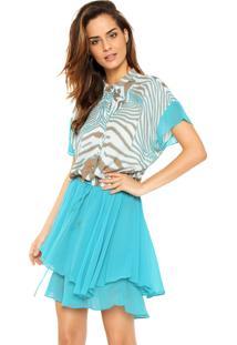 Vestido Moikana Curto Zebra Azul/Bege